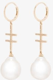 14K yellow gold Double Crossing diamond and pearl earrings