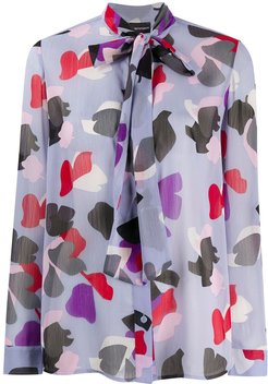 abstract print blouse - PURPLE