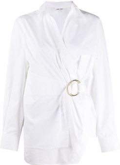 belted wrap shirt - White