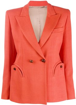 double-breasted fitted blazer - ORANGE