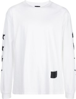 star print logo patch T-shirt - White