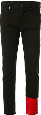 patch detail cropped jeans - Black