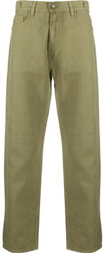 cropped slim-fit trousers - Green