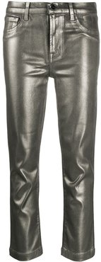 Ruby cropped metallic jeans - SILVER