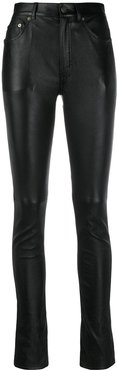 skinny-fit leather trousers - Black