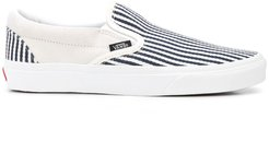 striped slip-on sneakers - White