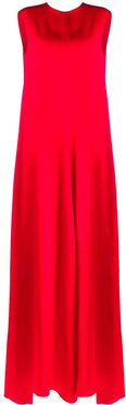 sleeveless straight fit gown - Red