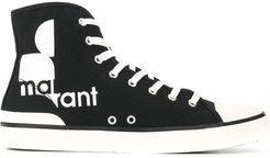 high-top logo sneakers - Black