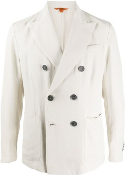 fitted double-breasted blazer - NEUTRALS