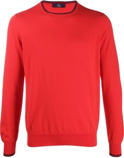 striped trim cotton jumper - Red
