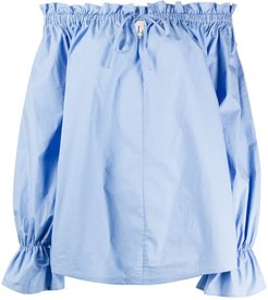 off-the-shoulder tied tunic - Blue