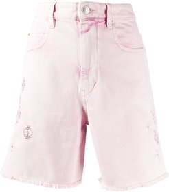 embroidered denim shorts - PINK