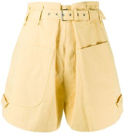 Ike belted cotton shorts - Yellow