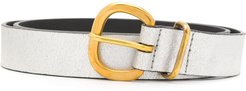 metallic buckle belt - SILVER
