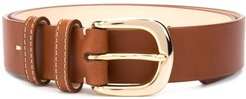 leather stitch loop belt - Brown