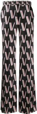 Double VLOGO palazzo trousers - Black