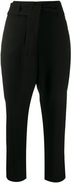 tied waist trousers - Black