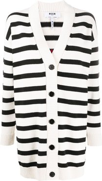 striped logo-jacquard cardigan - White