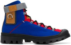 colour-blocked lace-up ankle boots - Blue