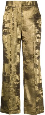 cropped straight leg trousers - GOLD