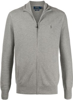 arran knit zip through cotton sweater - Grey