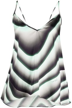 wave print asymmetric top - Green