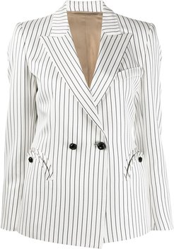 striped double-breasted blazer - White