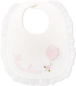 logo embroidered ruffle trim bib - White