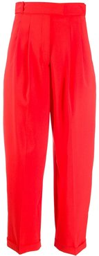 high-waisted wide leg trousers - Red
