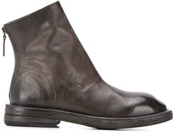 square toe back zip boots - Grey