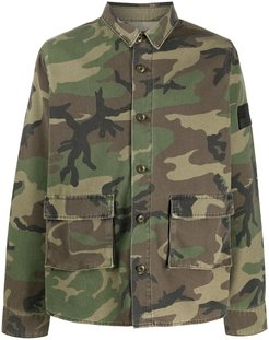 star print camouflage patterned jacket - Green