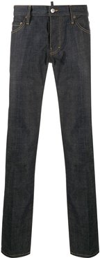 resin-treated slim-fit jeans - Blue
