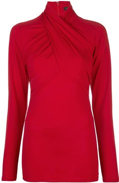 twisted-neck long sleeved top - Red