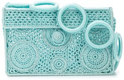 crocheted box clutch - Blue