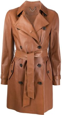 double breasted leather trench coat - Brown