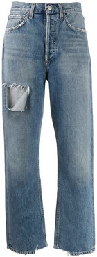 ripped stonewashed jeans - Blue