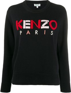 textured-logo crew neck sweater - Black