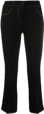 cropped slim-fit trousers - Black