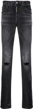 paint splash effect jeans - Black