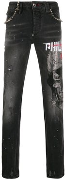 Super Straight-Cut Skull Crystal jeans - Black