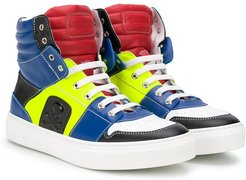 panelled high top sneakers - Blue