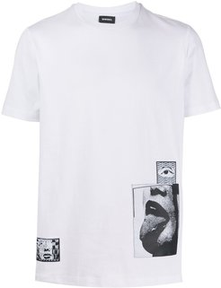 appliqué digital print T-shirt - White