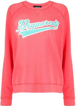 relaxed fit logo embossed sweatshirt - PINK