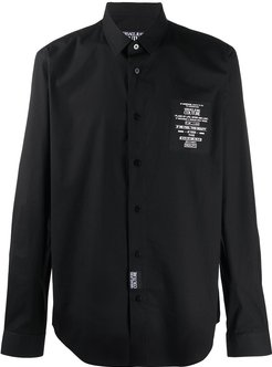logo patch relaxed fit shirt - Black