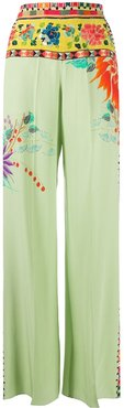 wide leg floral print trousers - Green