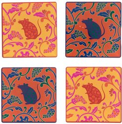 rat acrylic coasters (set of 4) - Yellow