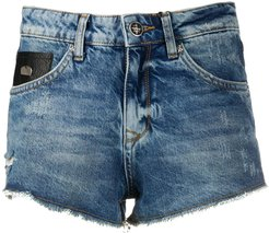 distressed denim shorts - Blue