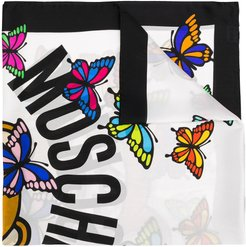 butterfly print silk scarf - White