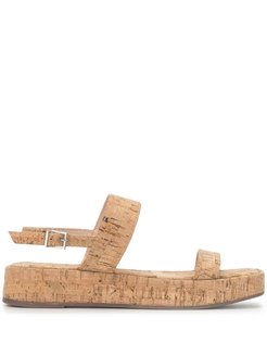 buckled-strap flat sandals - Brown
