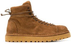 lace-up flat boots - Brown